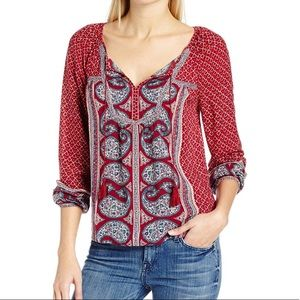 Lucky Brand border multi color tassels top size S